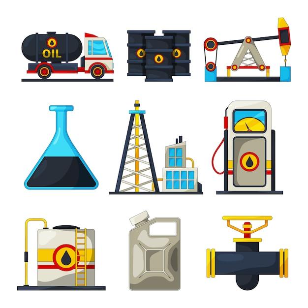 Elemente der kraftstoff- und gasindustrie Premium Vektoren