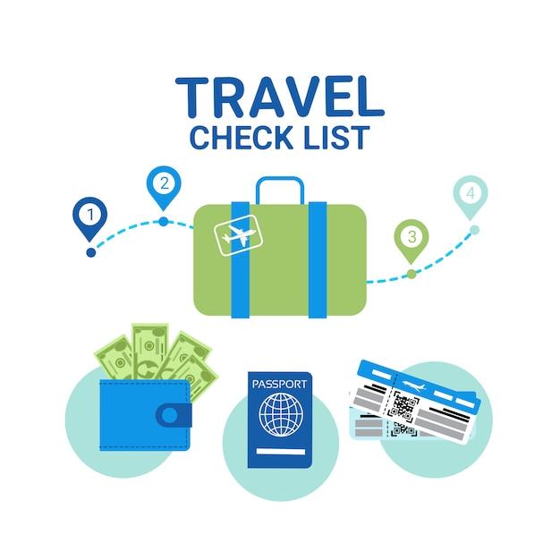 Elemente der reise-checkliste. stellenplanungskonzept Premium Vektoren