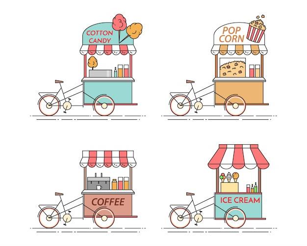 Elemente der stadt kaffee, popcorn, eiscreme, zuckerwatte-fahrräder. wagen auf rädern. speise- und getränkekiosk. vektor-illustration flache linie kunst. elemente für das bauen, wohnen, immobilienmarkt Premium Vektoren