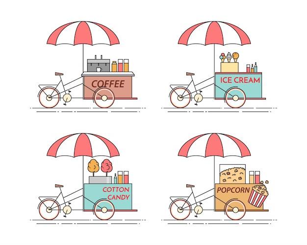 Elemente der stadt kaffee, popcorn, eiscreme, zuckerwatte-fahrräder. Premium Vektoren