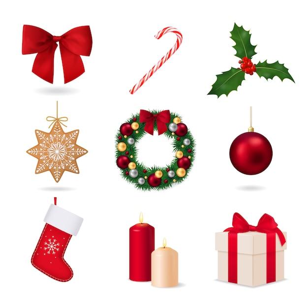 Elemente der weihnachtskollektion Kostenlosen Vektoren