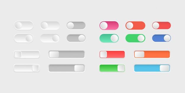 Elemente des webdesigns. schalter-symbole umschalten. sammlung von ein-aus-tasten. layout der schieberegler. Premium Vektoren