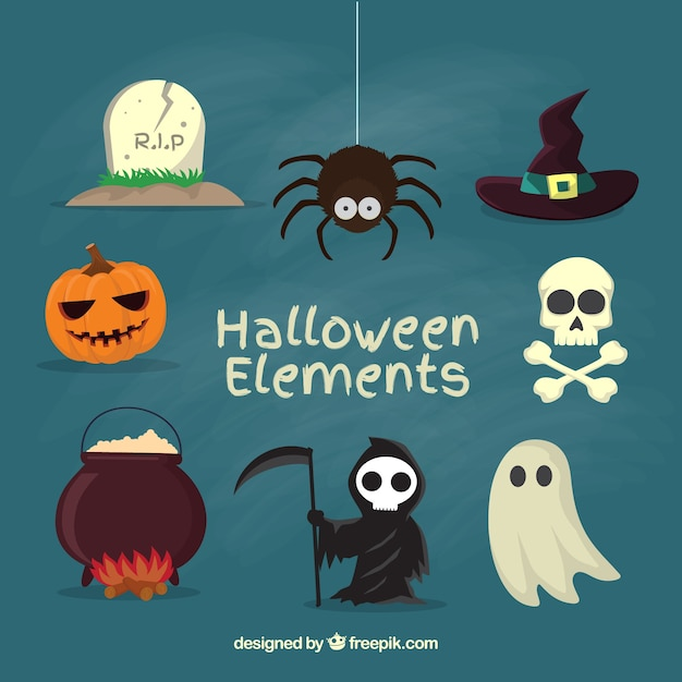 Elemente für eine gruselige halloween Kostenlosen Vektoren