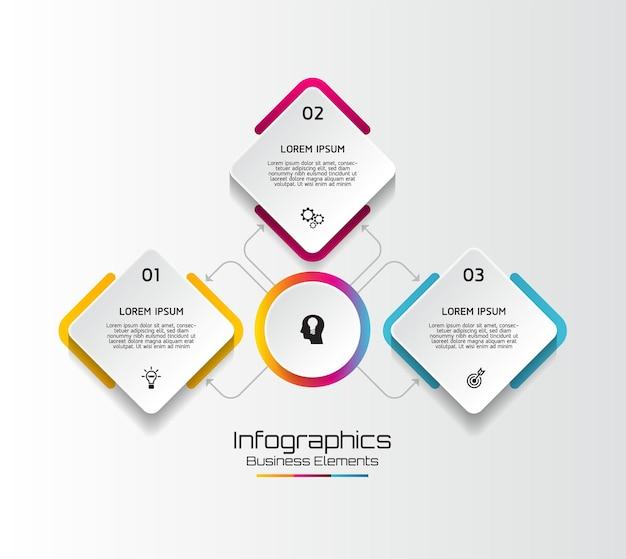 Elemente für infografiken. präsentation und diagramm. schritte oder prozesse. optionsnummer workflow-vorlagendesign. schritte. Premium Vektoren