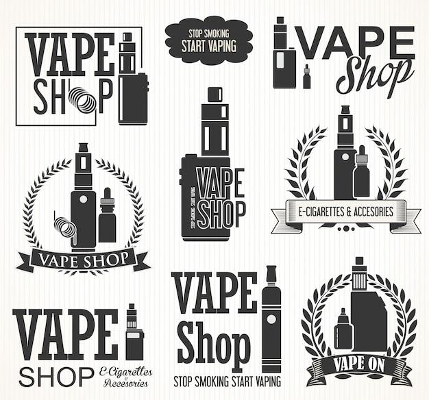 Elemente für vapor bar und vape shop elektronische zigarettensammlung Premium Vektoren