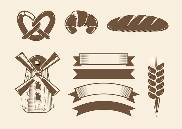 Elemente für vintage vektor bäckerei logos Premium Vektoren