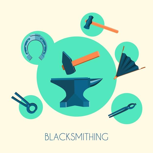 Elemente über blacksmithing Kostenlosen Vektoren