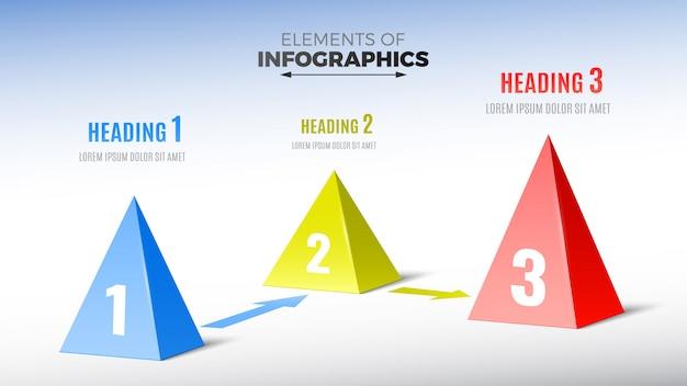 Elemente von infografiken in form von pyramiden. Premium Vektoren
