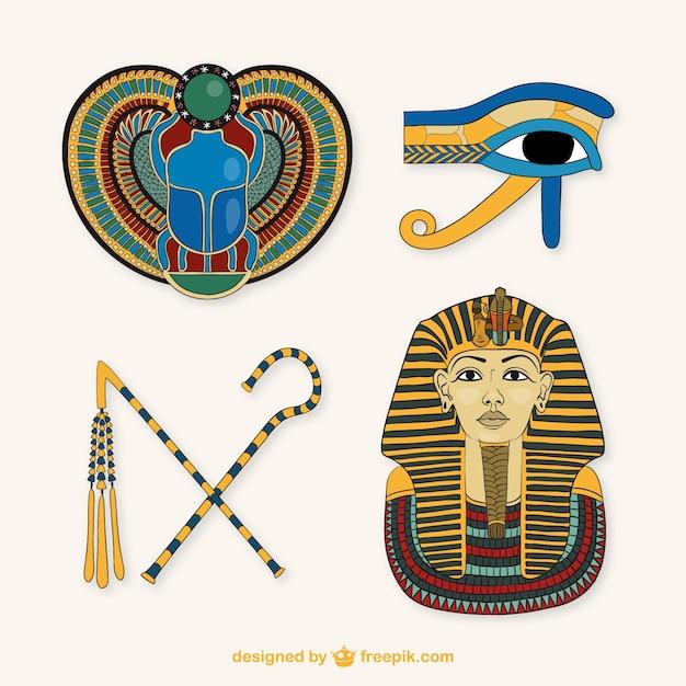 Elementen der ägyptischen kultur Premium Vektoren
