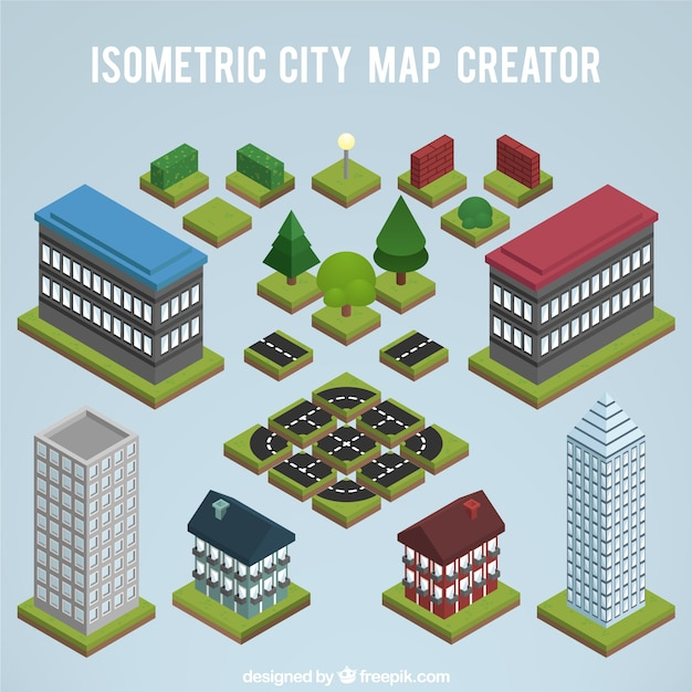 Elements eine stadtkarte zu erstellen, isometrische ansicht Kostenlosen Vektoren