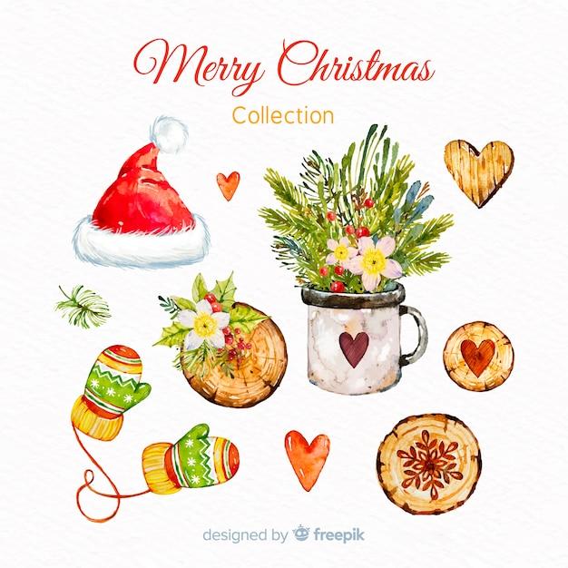 Elementsammlung des Aquarells frohe Weihnachten Kostenlose Vektoren