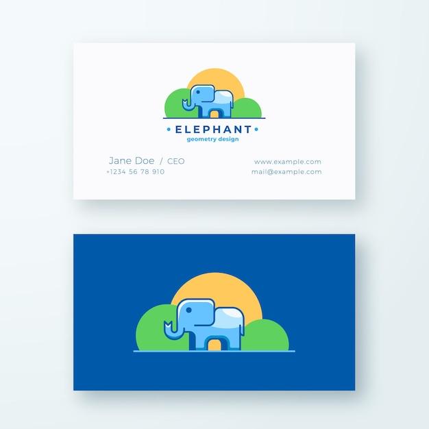 Elephan geometry design. abstraktes zeichen oder logo und visitenkartenvorlage. Premium Vektoren