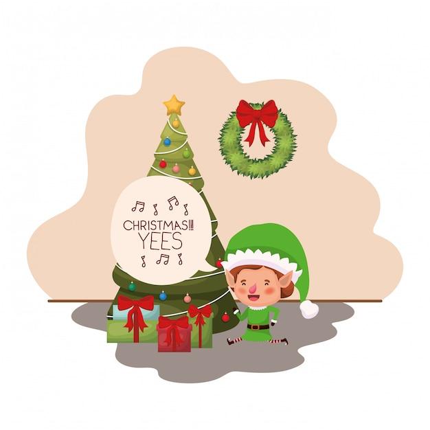 Elfe mit weihnachtsbaum und geschenken Premium Vektoren