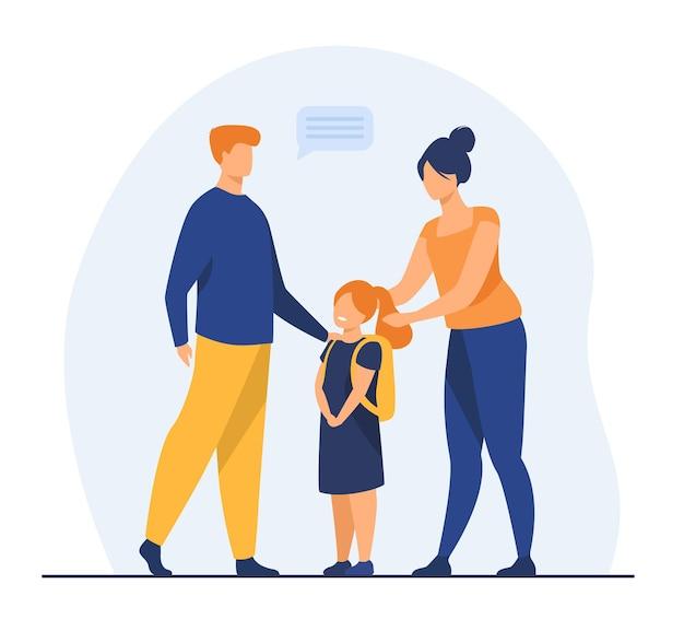 Eltern bereiten süße tochter zur schule vor. liebe, studie, rucksack flache illustration. karikaturillustration Kostenlosen Vektoren