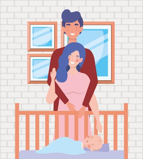 Eltern, die um neugeborenem baby mit wiege sich kümmern Kostenlosen Vektoren
