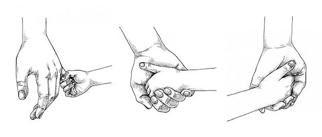 Eltern halten kind hand set, hand gezeichnete illustration Premium Vektoren