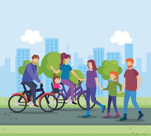 Eltern im fahrrad mit tochter auf dem park Kostenlosen Vektoren