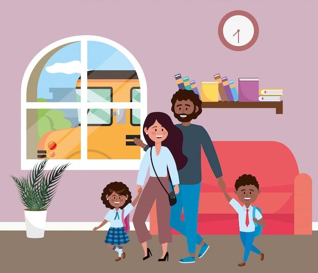 Eltern mit kindern zur schule gehen Kostenlosen Vektoren