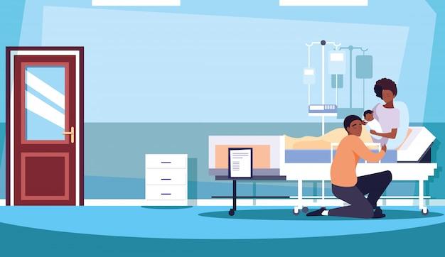 Eltern mit neugeborenen im krankenzimmer der bahre Premium Vektoren