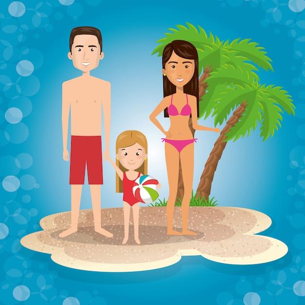 Eltern mit tochter am strand Kostenlosen Vektoren