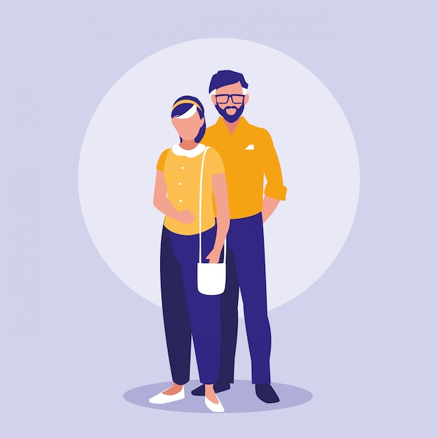Eltern paar avatare zeichen Premium Vektoren