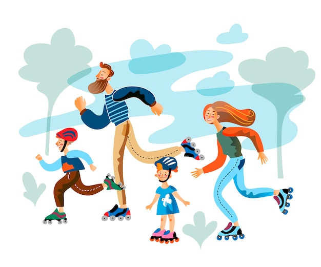 Eltern und kinder laufen auf rollschuhen im park Premium Vektoren