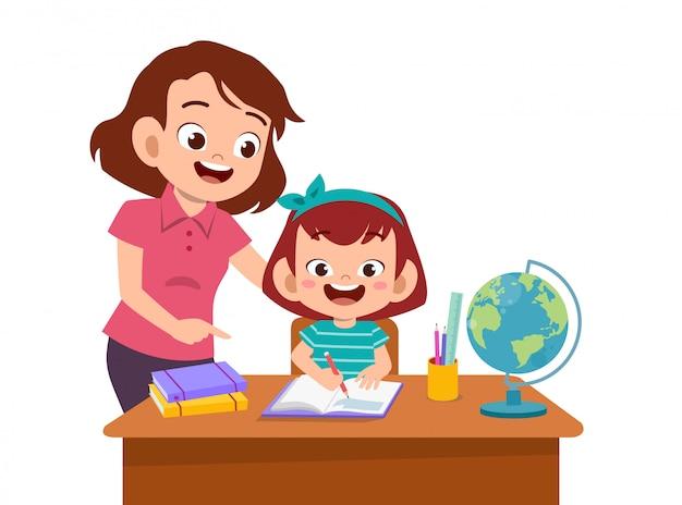 Elternhilfe unterrichten kind Premium Vektoren