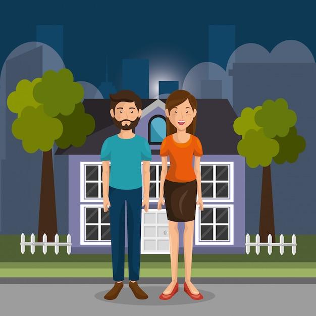 Elternpaar im freien zeichen Kostenlosen Vektoren