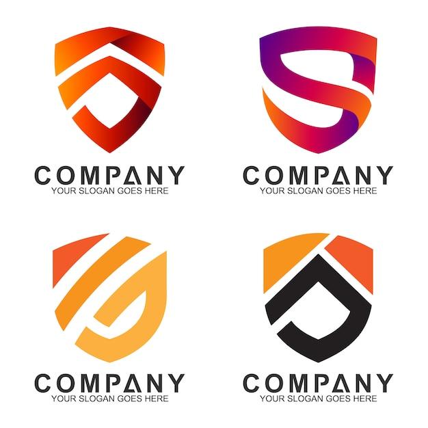 Emblem- / abzeichenschildkombination mit logoentwurf der initiale / des buchstaben Premium Vektoren