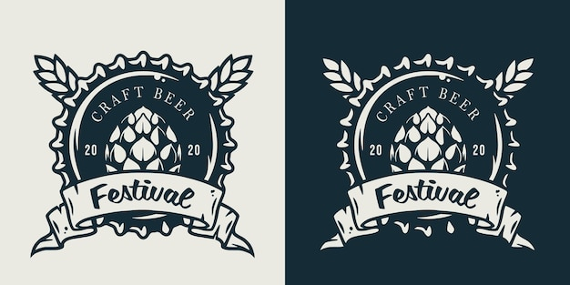 Emblem des metallkorkens von einer bierbrauereiflasche Premium Vektoren