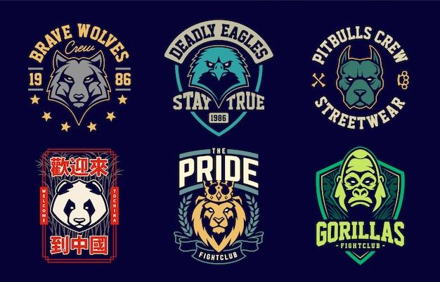 Emblem-design-vorlagen mit verschiedenen tiermaskottchen. sport team abzeichen designs. vektorsatz. Premium Vektoren