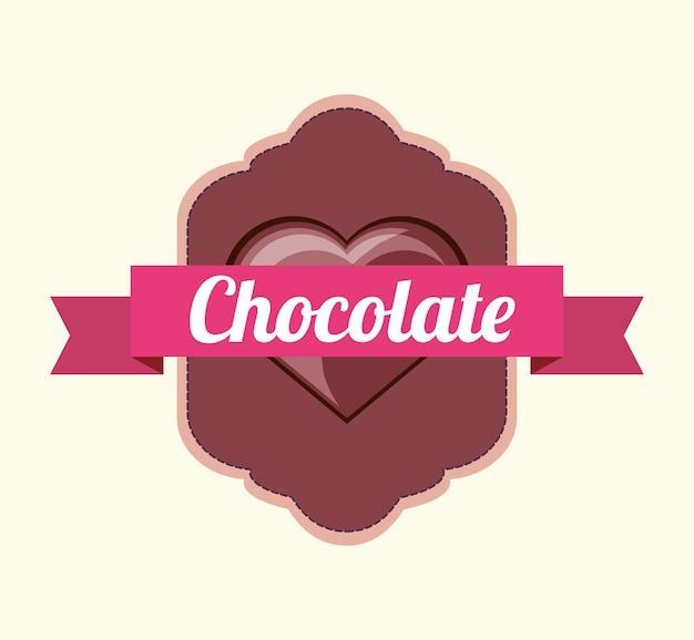 Emblem mit dekorativem band und herzen der schokoladenikone über weißem hintergrund Premium Vektoren
