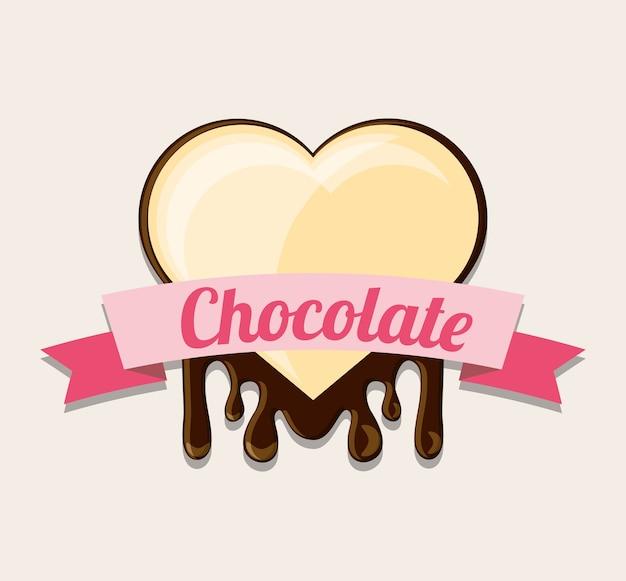 Emblem mit dekorativem band und herzen der weißen schokolade über weißem hintergrund Premium Vektoren
