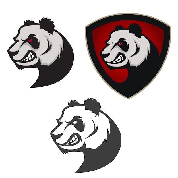 Emblem mit panda. Premium Vektoren