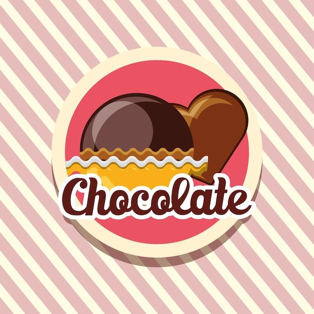 Emblem mit schokoladentrüffeln und herz aus schokolade Premium Vektoren
