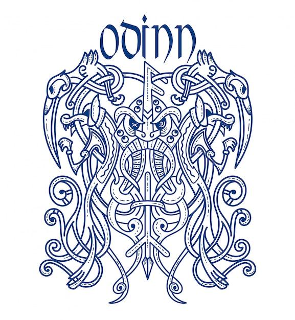 Emblem wikinger gott unheimlich odin Premium Vektoren