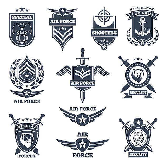 Embleme und abzeichen für luft- und bodentruppen Premium Vektoren