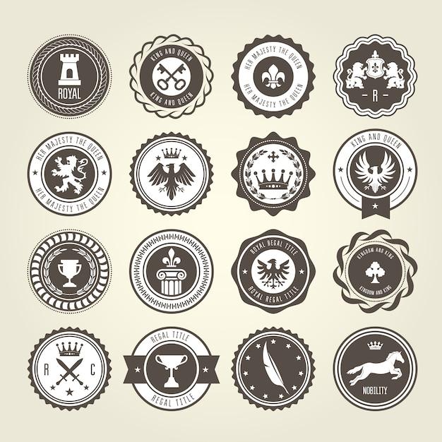Embleme, wappen und wappen - runde etiketten Premium Vektoren