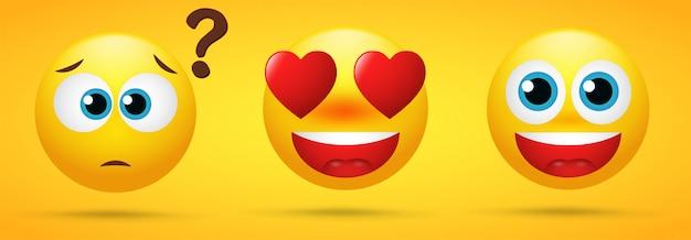 Emoji, das emotionen wunder zeigt Premium Vektoren
