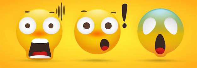 Emoji-kollektion, die auf gelb extremen schock zeigt Premium Vektoren