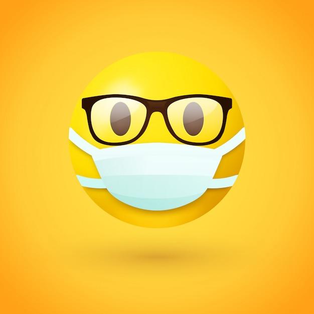 Emoji mit brille, die mundmaske trägt Premium Vektoren