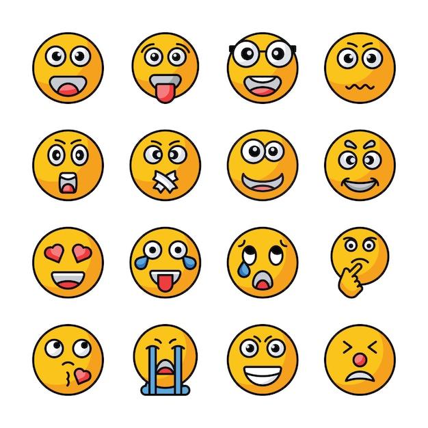 Emojis flat vector icons sammlung Premium Vektoren