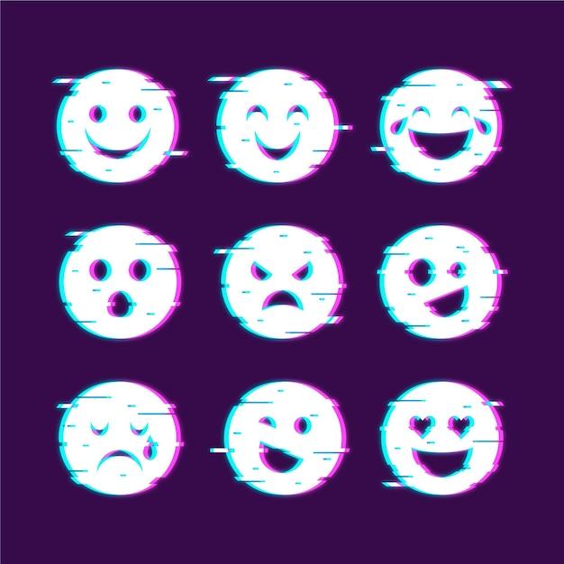 Emojis glitch icons sammlungen Kostenlosen Vektoren