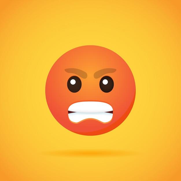 Emojis lächeln der emoticonkarikatur für social media auf orange. illustration Premium Vektoren