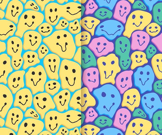 Emoticon-mustersammlung des verzerrten lächelns Kostenlosen Vektoren