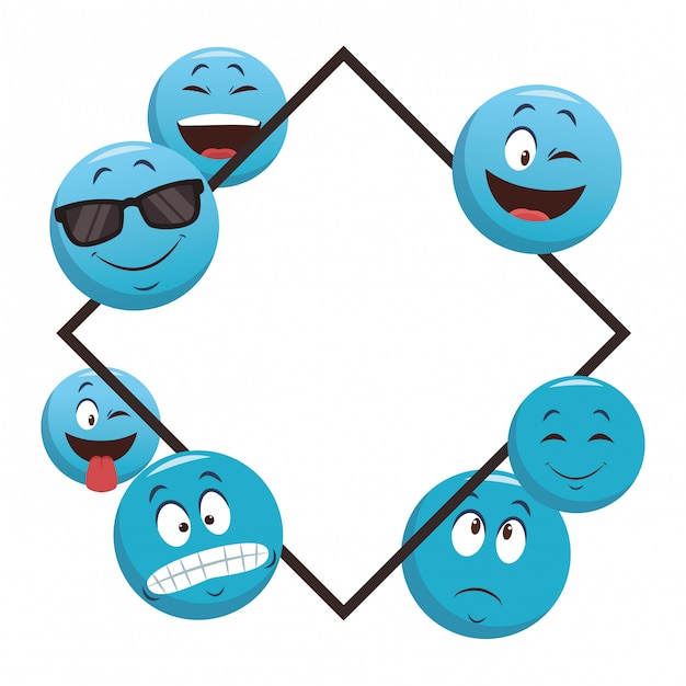 Emoticons-rahmenkonzept Premium Vektoren