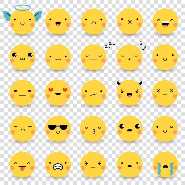 Emoticons transparenter satz Kostenlosen Vektoren