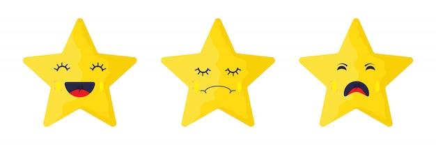 Emotionale gesichter eines stars - Premium Vektoren