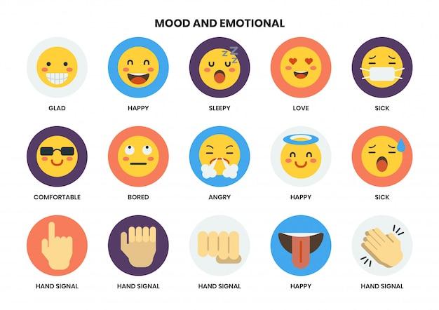 Emotionale symbole für unternehmen festgelegt Premium Vektoren