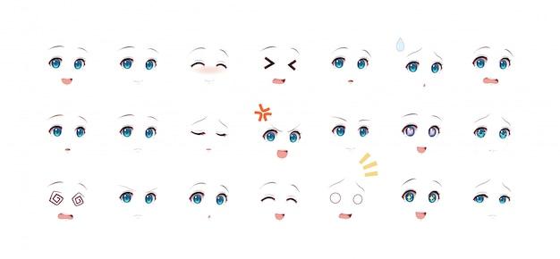 Emotionen augen von anime (manga) mädchen Premium Vektoren